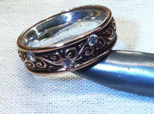 Copper band with 5 diamonds and fine silver lining